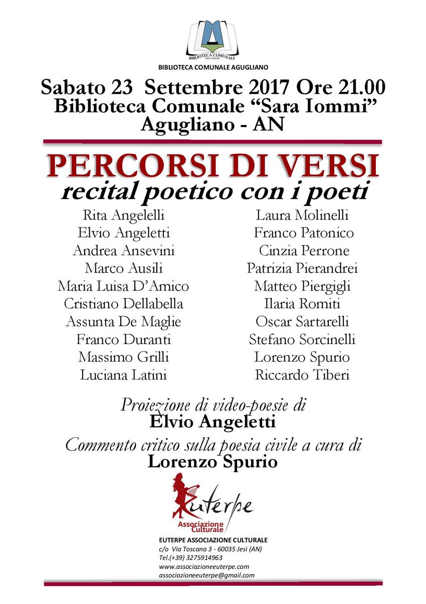 """Sabato ad Agugliano venti poeti a """"Percorsi di versi"""""""