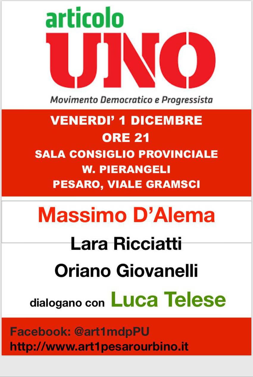 Massimo D'Alema arriva a Pesaro per parlare di Sinistra con Luca Telese
