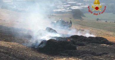 In fiamme a Tolentino una vasta area di sterpaglie: i vigili del fuoco evitano danni ad un bosco
