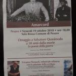 Pesaro ricorda i 100 anni dalla fine della prima guerra mondiale e i 50 anni dalla morte di Salvatore Quasimodo