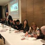 Il candidato sindaco di Recanati Antonio Bravi si emoziona durante la presentazione della lista Infinito Sport