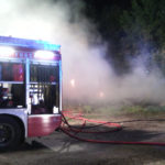 Balle di fieno in fiamme in un'azienda agricola di Castelfidardo