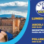 Domani Salvini torna nelle Marche: soste ad Ascoli Piceno, Pollenza, Jesi e Urbino