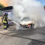Auto in fiamme lungo la Flaminia, a Palombina Nuova